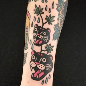Panther heads and Pot Leaves Tattoo by Jiran @Jiran_Tattoo #Potleaf #Potleaftattoo #Weedtattoo #Weed #Cutetattoo #Neotraditional #JiranTattoo #Korea #Panther