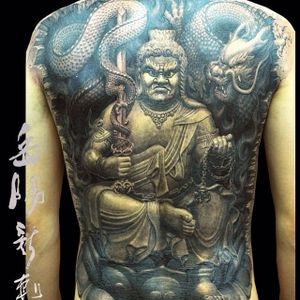 One of Heng Yue's killer depictions of Fudo Myoo (IG—newassasin_tattoo). #blackandgrey #dragon #FudoMyoo #HengYue #Japanese #largescale #realism