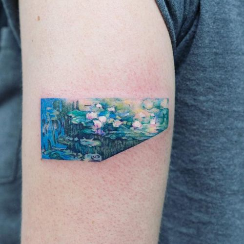 Monet tattoo by Zihee #Zihee #watercolortattoos #color #painterly #watercolor #Monet #painting #fineart #lilies #pond #lily #lilypad #waterlilies #nature #flowers #floral #water