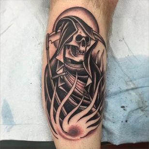 Clean and solid black reaper tattoo done by Nate Graves. #NateGraves #Sacred #blackandgrey #michigan #neotraditional #reaper #grimreaper