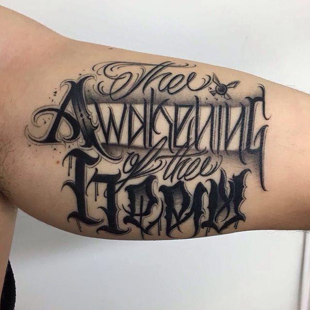 'The Awakening of the Hero' Lettering Tattoo by Gabri #lettering #script #blacklattering #blackwork #blckwrk #GabriL