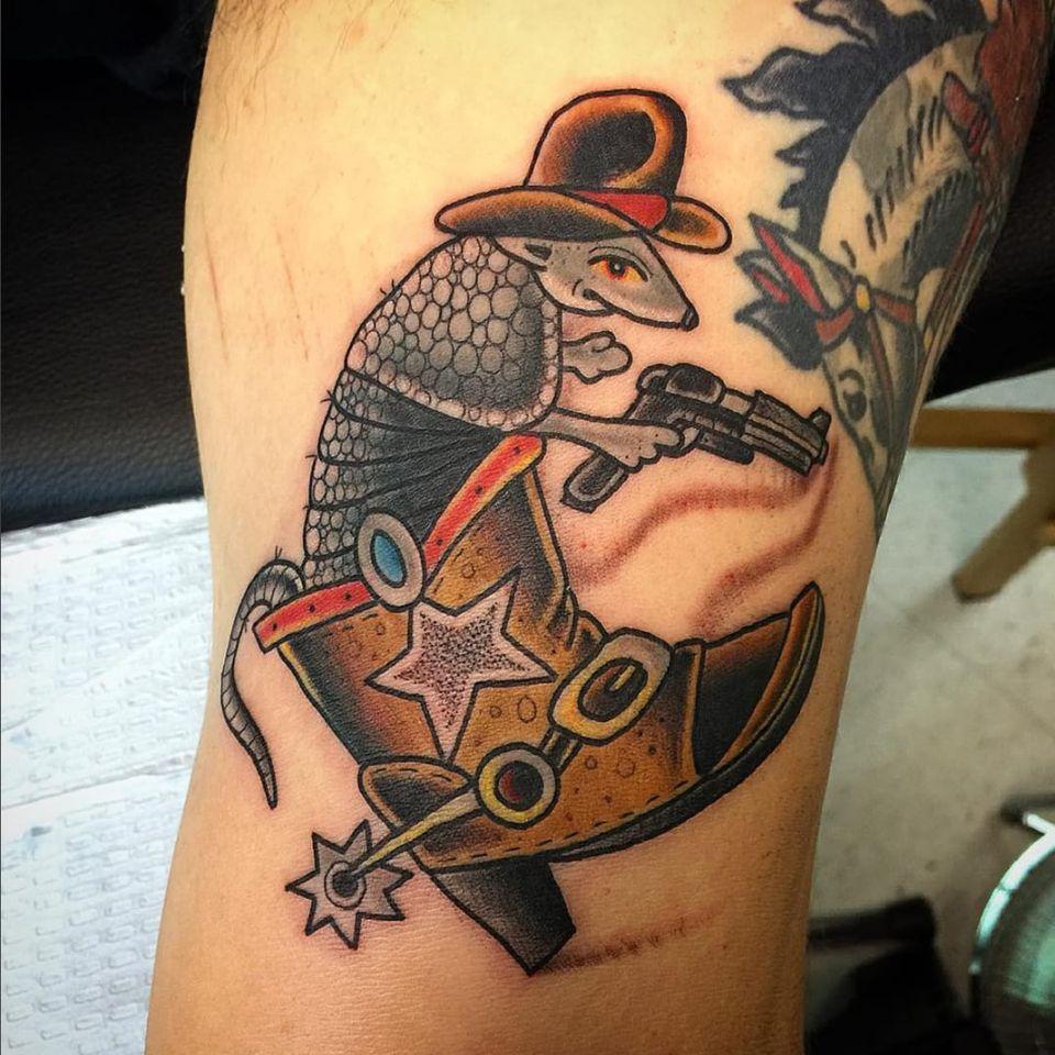 Armadillo tattoo by (IG-@destroytroy) #armadillo #Destroytroy #neotraditional #texastattoo