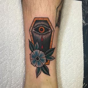 Crying eye coffin by Angelo Parente. #traditional #coffin #flower #blood #tears #eye #AngeloParente