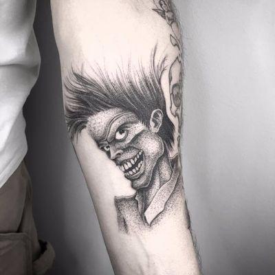 The Cramps by Nathan Kostechko #NathanKostechko #blackandgrey #portrait #thecramps #punk #music #dotwork #linework #tattoooftheday
