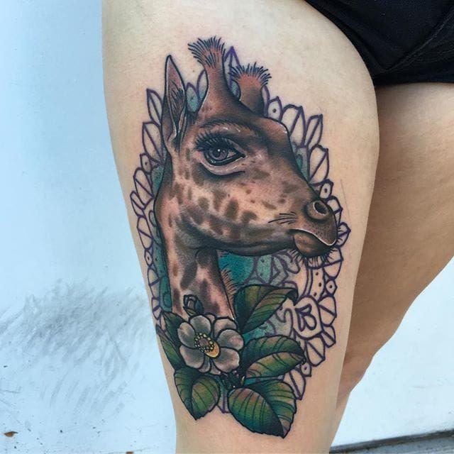 Neo traditional giraffe by Josh Elkins. #giraffe #neotraditional #flower #JoshElkins