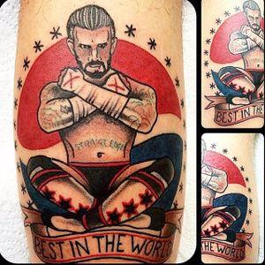 CM Punk Tattoo, artist unknown #CMPunk #WWE #Wrestling #traditional