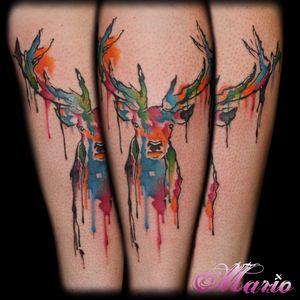 #InkedByMario #MarioGregor #aquarela #watercolor #TatuadorGringo #colorida #colorful #cervo #dear