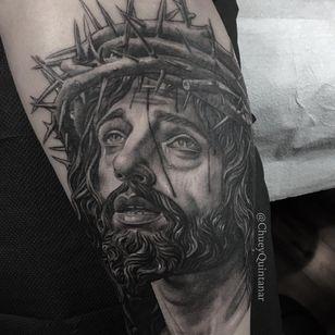 Jesus tattoo by Chuey Quintanar #ChueyQuintanar whiteinktattoos #blackandgrey #religious #christian #catholic #realistic #realism #portrait #Jesus #crownofthorns #tears #love #face #tattoooftheday