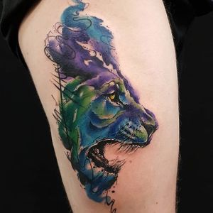 Sketchy watercolor roaring lion tattoo by Smel Wink. #sketchy #watercolor #illustrative #lion #bigcat #feline #SmelWink