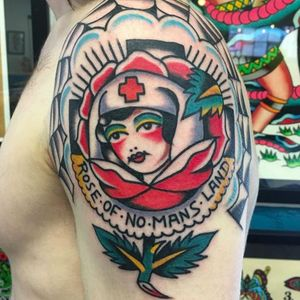 An old school style Rose of No Man's Land banger by Fergus Simms (IG—fergus_simms). #FergusSimms #ladyhead #RoseofNoMansLand #traditional