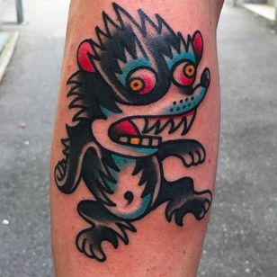 Funky looking rodent tattoo done by Alex Wild. #AlexWild #traditionaltattoo #boldtattoos #rodent