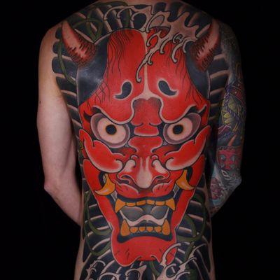 Massive Oni by Matthew Mooney #MatthewMooney #Japanese #color #Oni #Onimask #demon #waves #backpiece #tattoooftheday