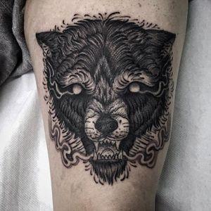 Wolf Tattoo by Luca Cospito #wolf #blackwork #blackworkartist #blackink #darkart #darkartist #spanishartist #LucaCospito