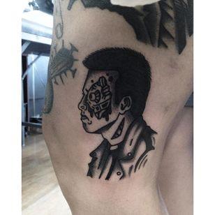 T-800 Tattoo by Joel Menazzi #Blackwork #portrait #BlackworkPortrait #PopCulture #JoelMenazzi #T800