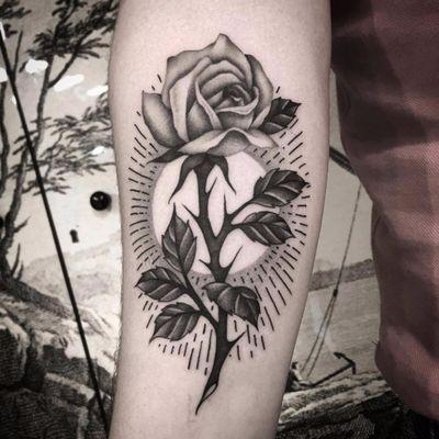 Illuminated rose by Mario Messina #MarioMessina #traditional #oldschool #rose #flower #leaves #sun #thorns #linework #light #nature #blackandgrey #tattoooftheday