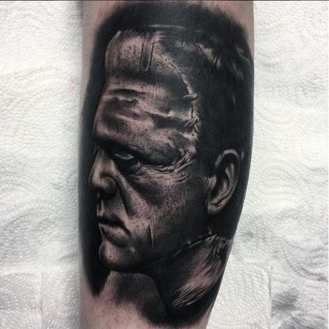 "Boris Karloff as Frankenstein's monster by Kyle ""Egg"" Williams (IG—egg_ink). #blackandgrey #Frankenstein #KyleEggWilliams #monstermovies #portraiture #realism"