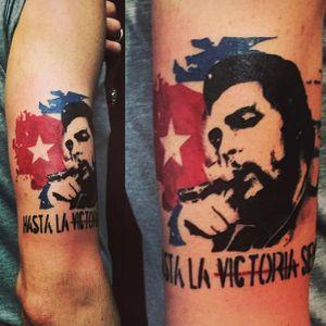 Anarchist tattoo with the Cuban flag by @mimmomarino #CheGuevara #Anarchist #portrait #portraittattoo #Cuba