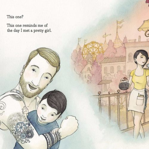 The dad from Tell Me a Tattoo Story showing his son a tattoo of a Ferris Wheel. #AlisonMcGhee #childrensbooks #ElizaWheeler #TellMeaTattooStory