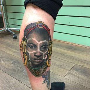 Neotraditional portrait tattoo by Dan Molloy. #DanMolloy #neotraditional #tribal