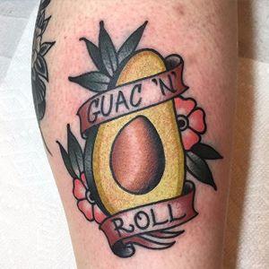 Guac 'n' roll tattoo by Josh Barg. #traditional #avocado #banner #guacamole #JoshBarg