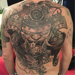 Samurai tattoo by Elvin Yong #ElvinYong #asian #contemporary #newschool #blackandgrey #samurai #hannya #dragon