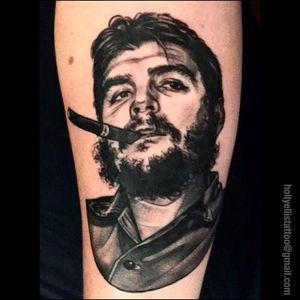 "Ernesto ""Che"" Guevara Traditional Portrait Tattoo by Holly Ellis @Hollsballs1 #HollyEllis #IdleHandsSF #idlehandstattoo #Traditional #Black #Portrait #Portraittattoo #Smoking #cheguevara #Tobacco"