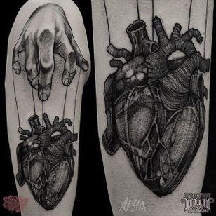 Puppet Heart Tattoo by Alex Underwood #puppetheart #puppettattoo #blackworkpuppet #blackworkheart #blackwork #blackworktattoo #blackworktattoos #blacktattoos #blackink #blackworkartists #AlexUnderwood