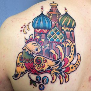 Russian tattoo by Helga Hagen #HelgaHagen #traditional #russian #colorful #bird