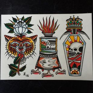 Traditional tattoo flash by Sam Ricketts, photo from Sam's Instagram. #flash #flashsheet #traditional #oldschool #lion #coffin #skull