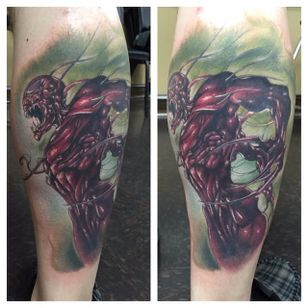 Carnage Tattoo by Cliff Evans #CarnageTattoos #SpiderManTattoo #SpiderManTattoos #SpiderMan #MarvelTattoos #ComicTattoos #ComicBook #SuperVillains #CliffEvans