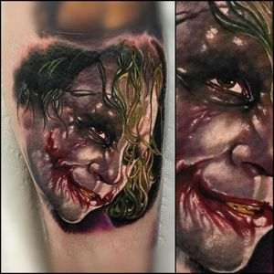 Heath Ledger as The Joker by Audie Fulfer Jr. #realism #colorrealism #AudieFulferJr #AudieFulfer #TheJoker #Joker #HeathLedger #Batman