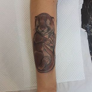 Otter pup by Aimee Bray. #neotraditional #AimeeBray #otter #babyanimal