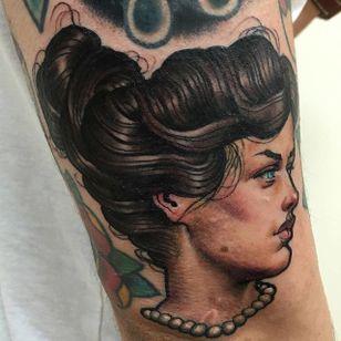 Girl Tattoo by Matt Buck #girl #girltattoo #freehandgirl #freehand #freehandtattoo #freehandtattoos #drawnon #drawnondesign #nostencil #nostenciltattoo #MattBuck