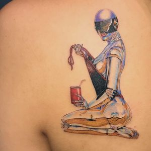 Sorayama Hajime robot lady tattoo by Mick Hee #MickHee #besttattoos #color #chrome #robot #lady #Pinup #metal #scifi #80s #SorayamaHajime #coke #swimwear #bathingsuit #vacation #babe #beach