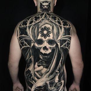 Virgin Mary Death Cathedral tattoo by Ben Thomas #BenThomas #besttattoos #blackandgrey #realism #realistic #hyperrealism #cathedral #virginmary #skeleton #skull #church #stainedglass #tattoooftheday