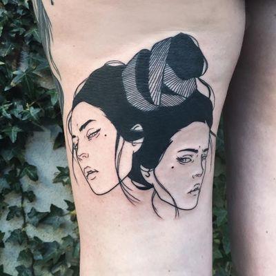 Tattoo by Silly Jane #SillyJane #blackwork #linework #geisha #lady #portrait #Japanese #newtraditional #mashup #manga #graphic #ladyheads #hair