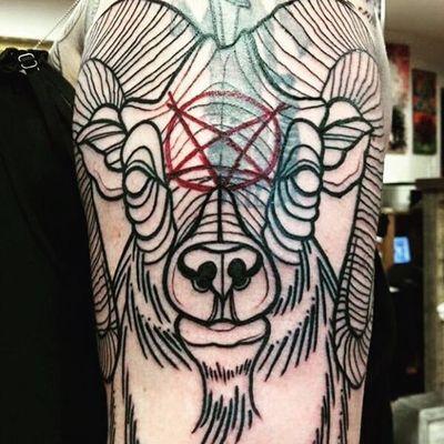 In progress cover-up Phillip. (via IG—little_luxee) #BlackPhillip #Goat #666 #Devilish #Devil #Satan #SatanicGoat