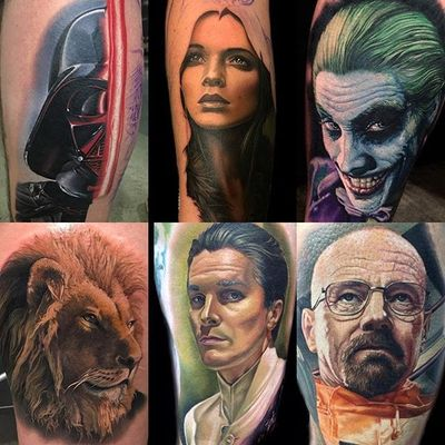 A selection of color realism tattoos by Tater Tatts. #realism #colorrealism #portrait #TaterTatts #BreakingBad #lion #Joker #DarthVader
