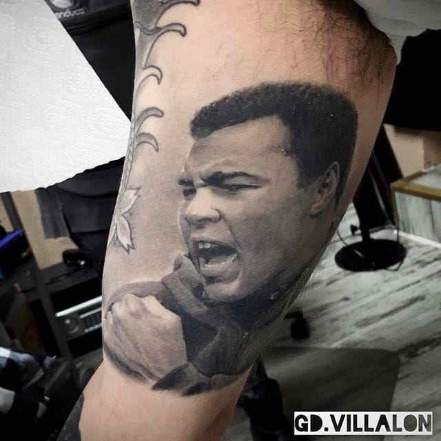 Muhammad Ali Tattoo by GD Villalon @GDVillalon #GDVillalon #MuhammadAli #MuhammadAliTattoo #CassiusMarcellusClay #CassiusClayTattoo #Tribute #GOAT #TheGreatest #Boxing #Champion