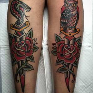 One of Andrew Mcleod's awesome matching dagger tattoos (IG—peppermintjones). #AndrewMcleod #cobra #dagger  #owl #roses #traditional