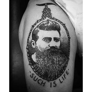 Ned Kelly Tattoo by Christoph Aribert #NedKelly #NedKellyTattoo #OutlawTattoo #FolkloreTattoos #AustralianTattoos #ChristophAribert