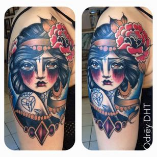 Fancy tattoo by Odrëy #Odrëy #illustrative #newschool #neotraditional #lady #tattooedlady