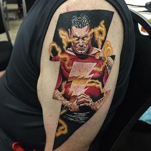 Shazam Tattoo by Josh Bodwell #shazam #captainmarvel #dccomics #dc #comicbook #JoshBodwell