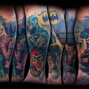 Batman, Joker and Harlequin Tattoo by Tony Sklepic @Tonysklepictattoo #Tonysklepictattoo #Realistic #Newschool #Edmonton #Alberta #Canada #Batman #Joker #Harlequin