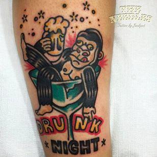 Drunk Ape Tattoo by Jackpot Tattooer @Needles_Tattooing #JackpotTattooer #Needlestattooing #TheNeedles #Oddtattoos #Neotraditional #Oldschool #Traditional #Seoul #Korea #Drunk #Drunknight #Ape