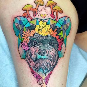 Olha esse dog cara!!!! #KatieShocrylas #kshocs #tatuagemcolorida #colorfultattoo #gringa #cachoro #cao #dog #cristais #crystals #cogumelos #moshroom #flores #flowers