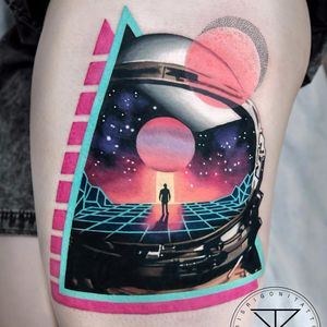 2001: A Space Odyssey tattoo by Chris Rigoni #ChrisRigoni #color #newtraditional #realism #realistic #abstract #shapes #surreal #space #astronaut #galaxy #moon #stars #planet #scifi #helmet #tattoooftheday