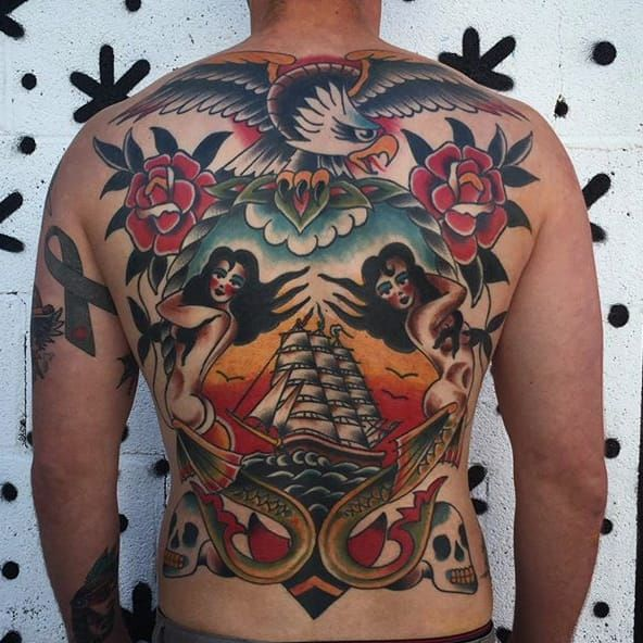 Nautical back-piece by Steve VonRiepen, made at Queen Street Tattoo. (IG- stevevonriepen) #QueenStreetTattoo #Hawaii #HawaiiTattooShop #TraditionalTattooing