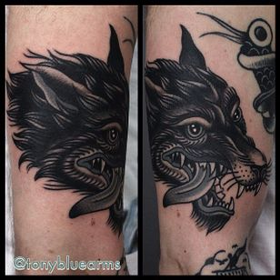 Wolf Tattoo by Tony Nilsson #wolf #traditional #classictattoos #TonyNilsson