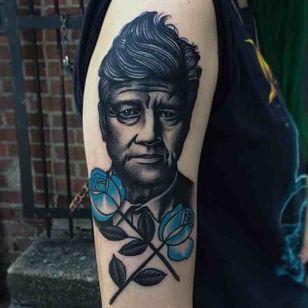 Blue portrait, David Lynch tattoo by Danielle Rose. #DanielleRose #bluerose #rosetattoo #filmdirectorstattoo #DavidLynch